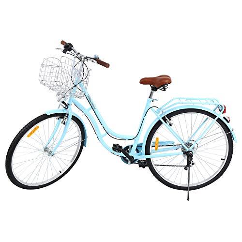 MuGuang 28 Zoll 7 Stadtrad Damen Männlich Fahrrad Damenfahrrad Outdoor Sportstadt Urban Fahrrad Shopper Fahrrad (Blau)