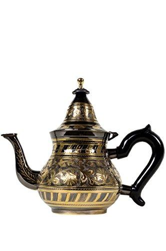 Marokkanische Teekanne aus Messing 800ml mit Sieb und Kunststoffgriff | Orientalische Kanne Bakir 800ml Schwarz/goldfarbig mit Deckel | Verschiedene Grössen | (800ml)