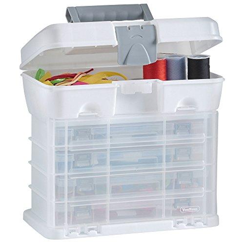 VonHaus Utility Werkzeugbox Organizer Tragekoffer mit 4 durchsichtigen Schubladen & anpassbaren Trennwänden - Weiß – Toll für die Lagerung von Kunst/Handwerk/Hobby