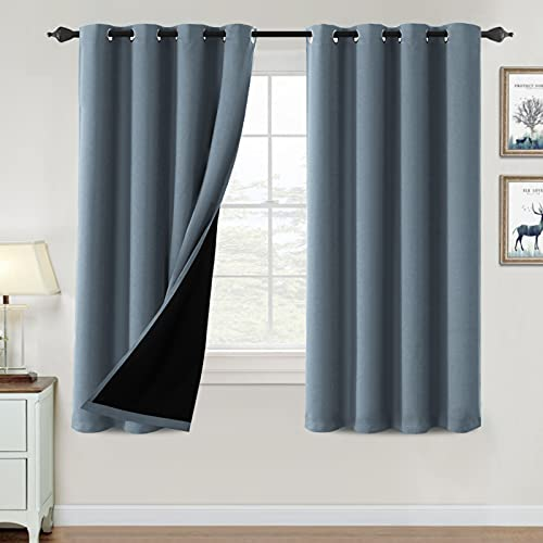 100% Blackout Curtains for Bedroom Thermal Insulated Blackout Curtains 63 inch Length Heat and Full Light Blocking Curtains Window Drapes for Living Room with Black Liner 2 Panels Set, Stone Blue
