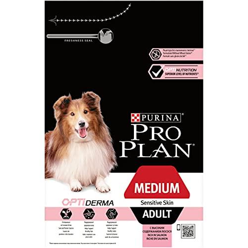 PURINA Pro Plan Comida Seco para Perro Adulto Mediano con Piel Sensible con Optiderma, Sabor Salmón - 3 Kg
