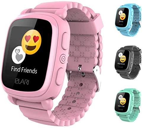 2G Reloj Inteligente Niño y Niña GPS Localizador y Llamadas Bidireccionales Audio, Chat de Voz, Botón SOS, Pantalla Táctil Grande y Brillante, Juegos - ELARI KidPhone 2 (Rosa)