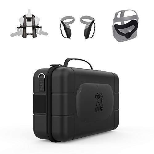 AMVR Touch Controller Grip Cover, Leder Fashion Travel Case, Face Silikon Cover Mask, VR Headset Display Ständer, Linsenschutz, Nasenpad Ersatz Zubehör Geschenk Set für Oculus Quest 1