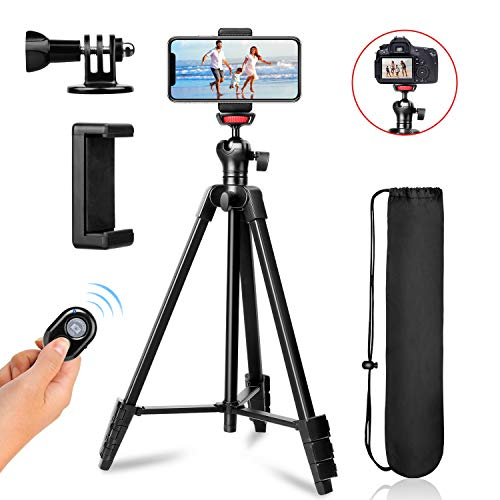 57inch ZoMei Phone Tripod Protable Travel Tripod Stand for iPhone/Android, Aluminum Lightweight Cell Phone Tripod with Wireless Remote and Universal Clip for GoPro Smartphone