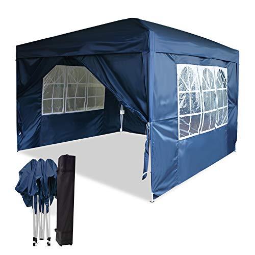 Mondeer Gartenpavillon 3X3m, wasserdichter Klapppavillon mit 4 Wänden, Aufstellzelt, UV-beständiger Campingpavillon, für Gartenparty, Party, Hochzeit, Geschäftsaktivitäten, Blau