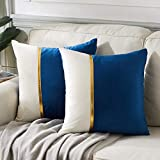 Fancy Homi 2 Packs Decorative Throw Pillow Covers 20x20 Inch for Living Room Couch Bed, Navy Blue and White Velvet Patchwork with Gold Leather, Luxury Modern Home Decor, Accent Cusion Case 50x50 cm