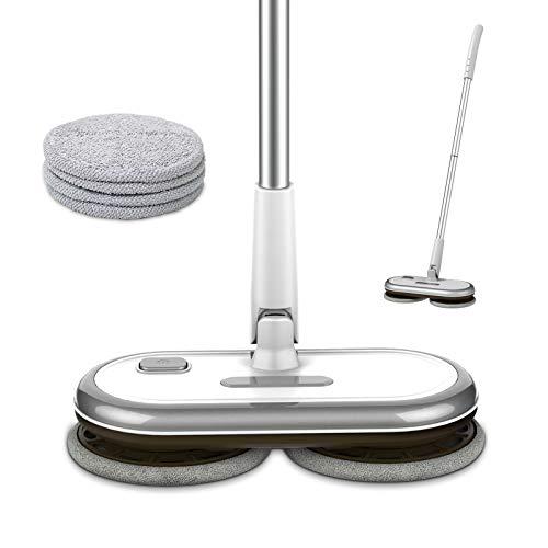 GOBOT Cordless Electric Mop Hardwood Floor Mop,Kitchen Tile Floor Mop,Laminat Vinyl Floor Scrubber with 4 Washable Microfiber Pads