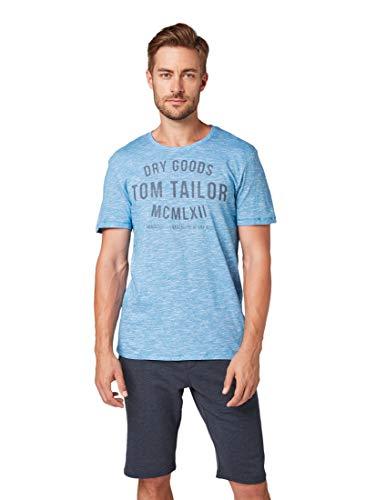 TOM TAILOR Herren T-Shirts/Tops T-Shirt mit Print White Teal Yarndye Stripe,M