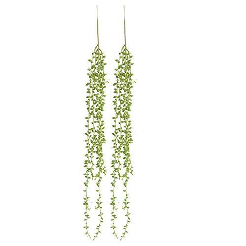 TIREOW 2 Stück 78CM Künstliche Sukkulenten Pflanzen Kaktus Saiten von Perlen Pflanzen Senecio Hängende Pflanzen für Balkon Hochzeit Dekoration