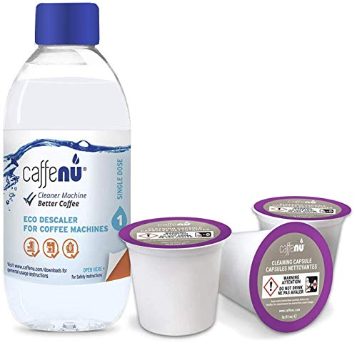 Descaling Solution and Cleaning Kit for Keurig 1.0 & 2.0 K Cup Coffee Machines | 2 uses per Bottle & 3 Cleaner Pods | Removes Limescale & Cleans Pod Area | Food Safe & Eco Friendly