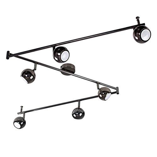MiniSun – Barra de luz con 6 focos y cabezales en el famoso estilo retro arco – en cromo negro