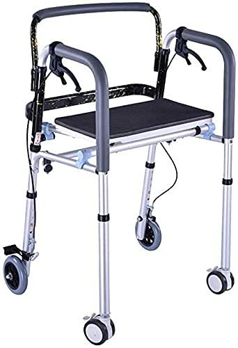 GANE Andador con Ruedas,Soporte para Caminar Plegable con Ruedas médicas de 4 Ruedas con Freno de Mano para Anciano/Marco de pie,aleación de Aluminio,Ayuda para Caminar para discapacitados