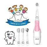 Seago Cepillo de dientes eléctrico para niños de 6 meses a 4 años, cepillo de dientes sónico para bebés con cepillo de luz LED, temporizador inteligente impermeable IPX7, SG513 (513 Rosa)