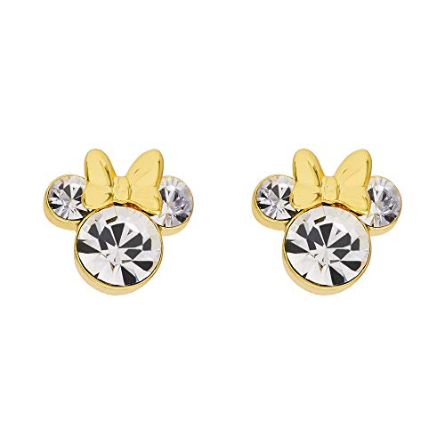 Disney Minnie Mouse Yellow Silver Plated Crystal Stud Earrings;
