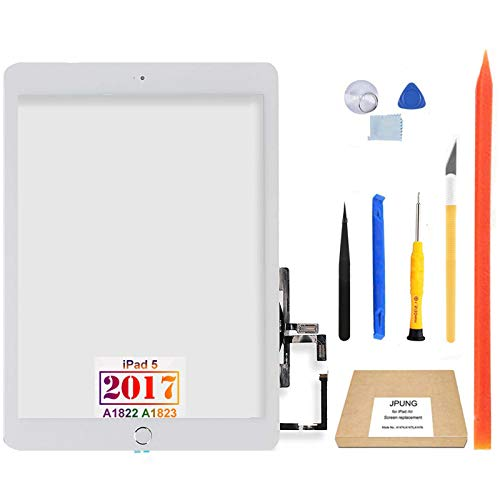 JPUNG for iPad 5 5th Gen Touch Screen Digitizer Replacement 2017 9.7', Only for 5th Generation A1822 A1823, with Home Button, Full Repair Kit, Camera Holder, Pre-Installed Adhesive