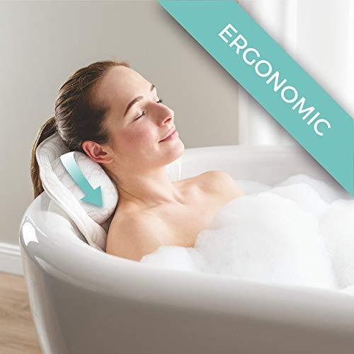 Ergonomisches Badekissen SPIRITY mit Nacken- und Rückenstütze - Komfortables Badekissen zur Entspannung - 3D-Luftnetz-Technologie - Whirlpool-Badewannenkissen mit starken Saugnäpfen - Badezubehör