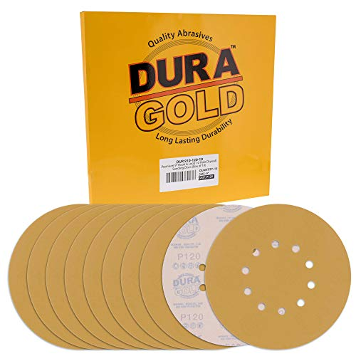 "Dura-Gold Premium 9"" Drywall Sanding Discs - 120 Grit (Box of 10) - 10 Hole Pattern Sandpaper Discs with Hook & Loop Backing, Fast Cutting Aluminum Oxide Abrasive - For Drywall Power Sander, Sand Wood"