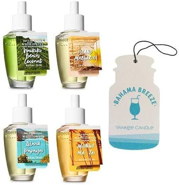 Bath And Body Works 4 Pack Wallflowers Fragrances Refill 0 8 Oz Tropical Fragances Paperboard Car Jar Bahama Breeze