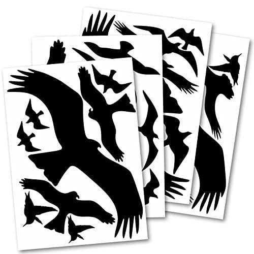 WandSticker4U®- Fensteraufkleber 31 WARNVÖGEL IN SCHWARZ I 4X DIN A4 Vogelaufkleber für Fensterscheiben I Vogelschutz Aufkleber für Fenster I Windowsticker Fensterschutz Vogelschlag