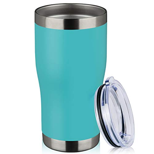 MEWAY 20oz Stainless Steel Tumbler,Vacuum Insulated Coffee Cup Tumblers with Lid,Double Wall Powder Coated Travel Mug Gift for Women Man,Thermal Cups Keep Drinks Cold & Hot(Light Blue,1)
