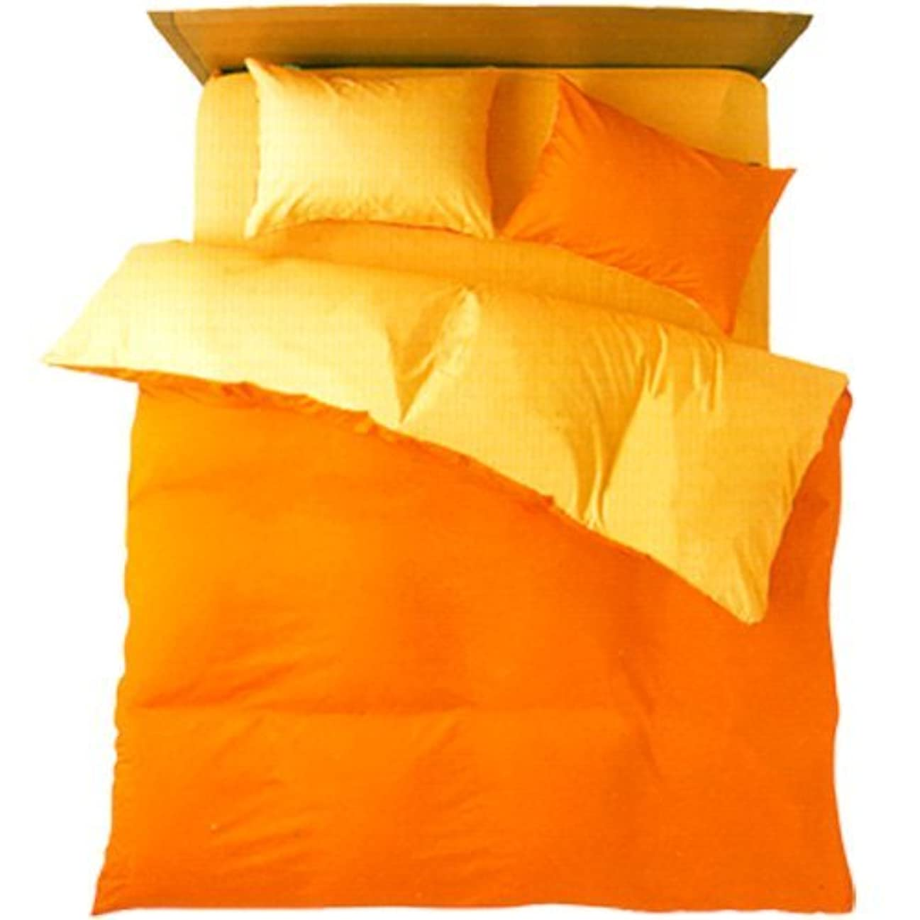 論文知り合い線形FROM 布団カバー 3点セット シングル 日本製 オレンジ/ゴールドイエロー