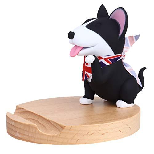 ULTECHNOVO Husky Dog Desk Cell Phone Stand Holder Filhote de Cachorro Estatueta Animal Dos Desenhos Animados de Madeira Smartphone Suporte Suporte Decoração para Mesa de Escritório