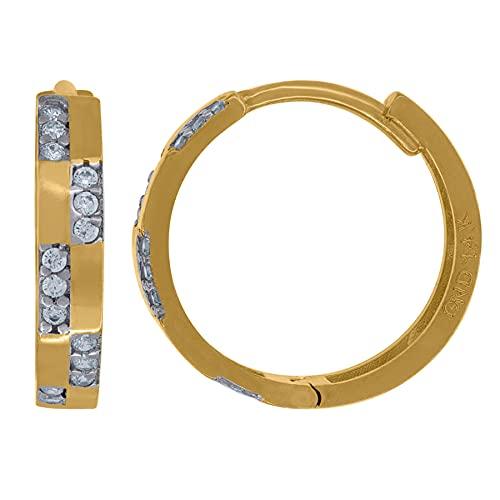 Pendientes de aro de oro de 14 quilates con circonita cúbica y circonita cúbica de imitación, mide 15,5 x 16 mm de ancho, para mujer