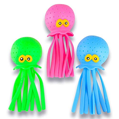ArtCreativity Octopus Water Balls, Set of 3, Rubber Kids' Bath Toys, Sensory Stress Relief Pool Toys for Kids, Cute Goodie Bag Fillers for Boys and Girls, Pink, Blue and Green