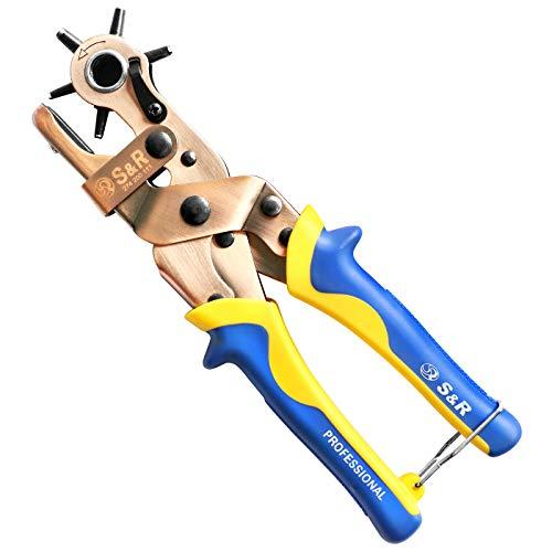 S&R Hebel-Revolverlochzange RUND 2- 2,5 - 3 - 3,5 - 4 - 4,5 mm + 1 Extra Amboss | Lochzange Pfeifenzange mit Hebel-Übersetzung