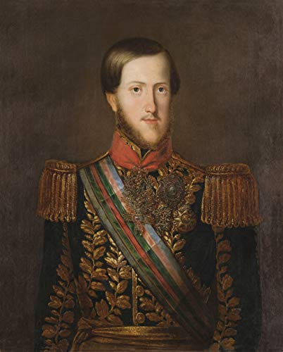 "Retrato de D. Pedro II Pintura de José Correia de Limac 1849 em Tela""Canvas"" Repro (Tela""Canvas"", 70cm X 55cm Tamanho de Imagem)"