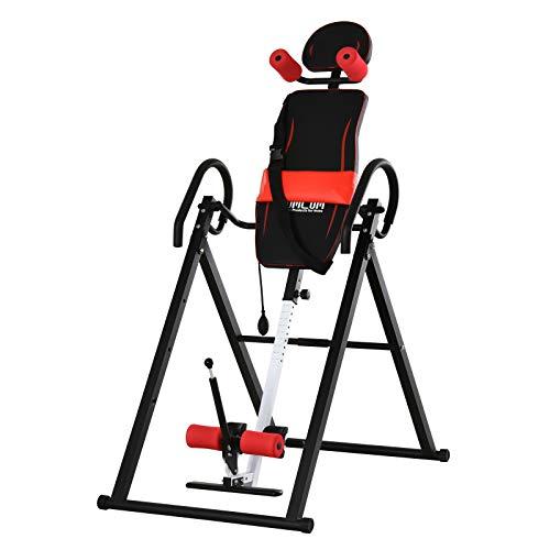 HOMCOM Tabla de Inversión Gravitacional Plegable Acolchada con Cinturón de Seguridad Regulable en Altura para Usuarios de 130-190cm Ejercicio y Alivio de Dolores de Espalda Carga Máxima 150 kg
