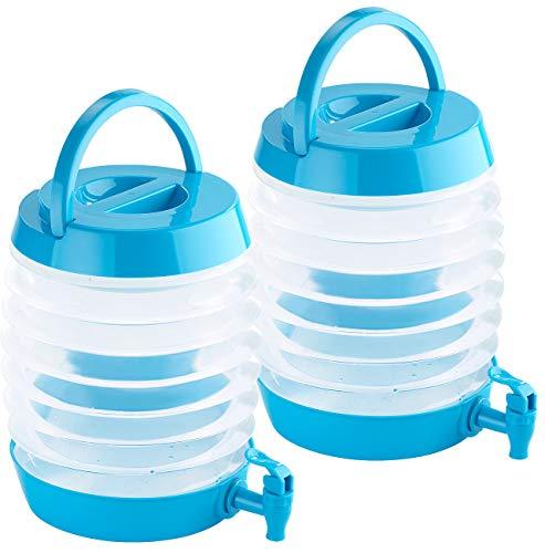 PEARL Kompakt-Getränkespender: 2er Pack Faltbares Fässchen, Auslaufhahn, Ständer, 5,5 Liter, (Wasserspender zusammenklappbar)