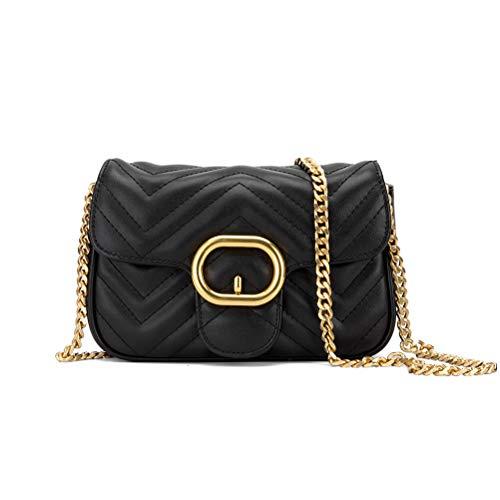 YXBQueen Bolso de diseño de celosía de cuero Vagan bolso cruzado bolsos de hombro para mujer bolsos acolchados, negro (Negro), Small