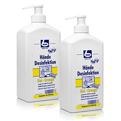 2x Dr. Becher Hände Desinfektion Gel-Orange 500 ml