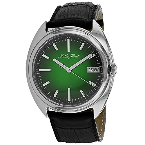 MATTHEY-TISSOT Correa de cuero de cuarzo de acero inoxidable para hombre, negro, 22 reloj casual (Modelo: EG1886AV)