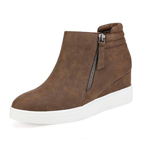 DREAM PAIRS Women's Brown Casual Platform Wedge Sneaker Booties Size 8.5 M US Wedge-Snkr-2