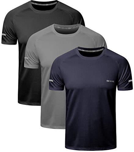 HUAKANG 3 Piezas Manga Corta Camiseta Hombre de Camiseta Hombrede Secado Rápido Ropa Deportiva Hombre para Correr(Black Grey Navy-M)