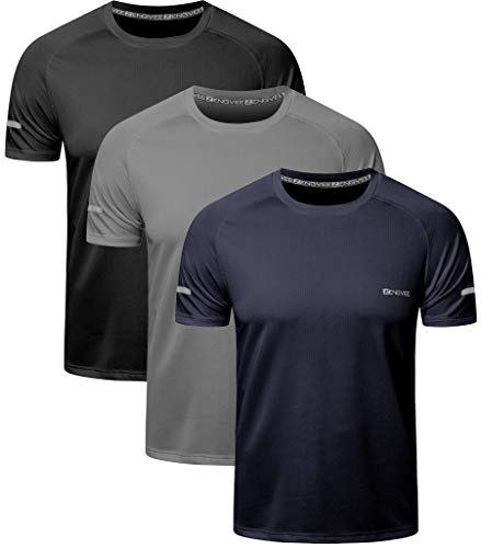 HUAKANG 3 Piezas Manga Corta Camiseta Hombre de Camiseta Hombrede Secado Rápido Ropa Deportiva Hombre para Correr(Black Grey Navy-2XL)
