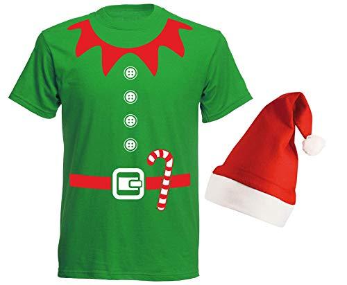 aprom Elfen kostuum - T-shirt met rode muts Kerstmis groepskostuum carnaval X-Mas ivoor kostuum GR