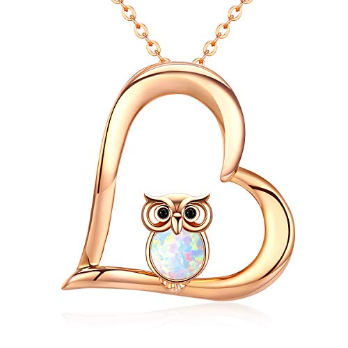 Owl Jewellery for Women Gift for Girls 925 Sterling Silver 18K Rose Plated Heart Pendant Synthetic Opal Owl Necklace Gifts, Gift Packaging