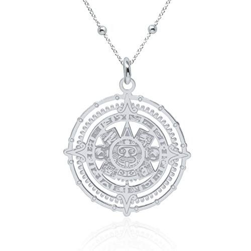 WANDA PLATA Collar Colgante Calendario Azteca Maya para Mujer Plata de Ley 925 con Cadena de 45 cm + 5 extensión en Caja de Regalo