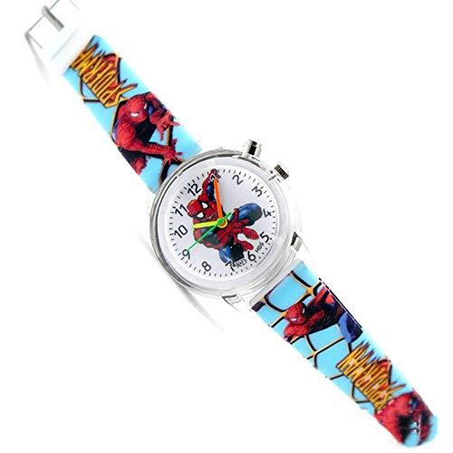 WeiHaoJian Jungen Silikon Spiderman Beleuchtung Handgelenk Armbanduhren Spider-Man Geburtstagsgeschenk - Blau