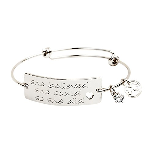 """Baubelle Expandable Inspirational Stackable Charm Bracelet """"She Believed She Could So She Did"""""""