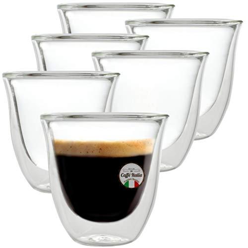 Caffé Italia Napoli 6X Tasse Verre Double Paroi 60 ML - Tasse Expresso 8 cl - Espresso en Verre - Coffret de 6 Tasses à Café Double Paroi - Cadeau Parfait pour Toute Occasion
