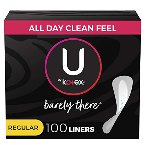 U by Kotex Barely There Thin Panty Liners, Light Absorbency, Regular Length, Unscented, 100 Count