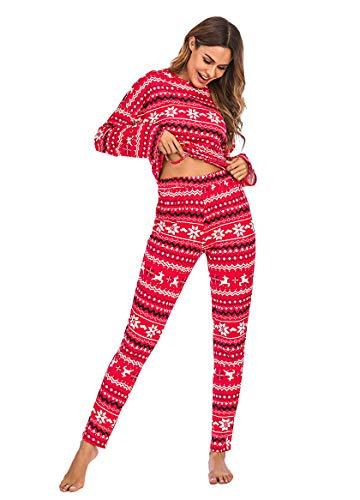 Women Christmas Pajamas Sets 2 Piece Nightwear Layer Thermal Underwear Set Long Sleeve Top Pant Sleepwear (Red, M)