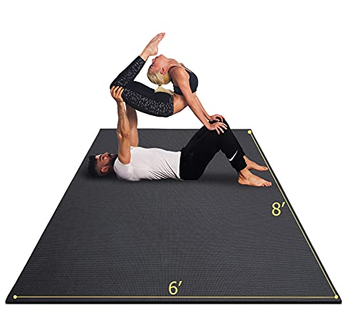 GXMMAT Extra Large Yoga Mat 6'x8'x7mm, Thick Workout Mats for Home Gym Flooring, Non-Slip QuickResilientBarefoot Exercise Mat, Non Toxic Ultra Comfortable Cardio Mat for Pilates, Stretching, Fitness