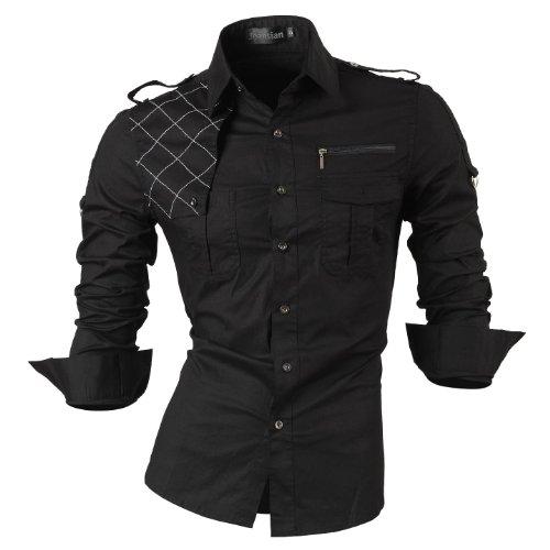 jeansian Herren Freizeit Hemden Shirt Tops Mode Langarmshirts Slim Fit 8371 Black XL