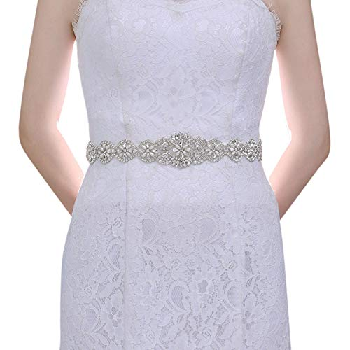 TOPQUEEN Strass Braut Schärpe Rhinestones Hochzeit Schärpe,Strass Hochzeit Gürtel,Diamanten Braut Gürtel (Weiß)