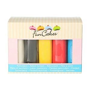 FunCakes Fondant Multipack Colores Primarios Suave, Flexible, Halal, Kosher y sin Gluten. 5 colores: Blanco, Amarillo, Azul, Rojo, Negro. 5 x 100 g